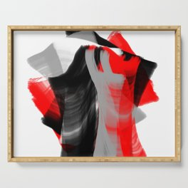 dancing abstract red white black grey digital art Serving Tray