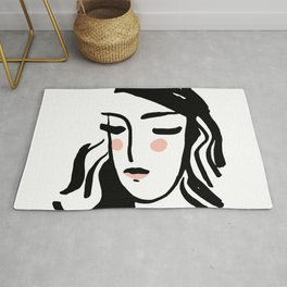 Artistic Portrait sketch beautiful woman Illustration, lines scandinavian style. poster, decor trend Rug