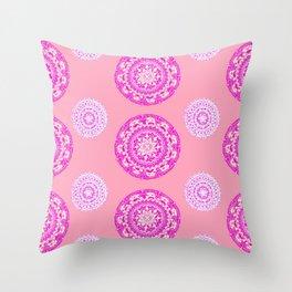 Salmon, Pink, and Purple Patterned Mandalas Throw Pillow
