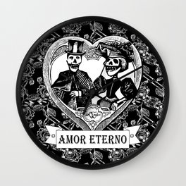 Amor Eterno | Eternal Love | Calavera Couple | Black and White | Wall Clock