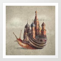 rock Art Prints featuring The Snail's Daydream by Eric Fan