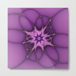 Lilac Ornament Fractal Art Metal Print