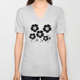 New stylish monochrome Flowers Unisex V-Neck