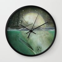 moby dick Wall Clocks featuring Moby Dick by Marilyn Foehrenbach Illustration