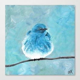 Mountain Bluebird Acrylic Art, Blue Bird Painting, Bird on a Branch, Wall Art, Fluffy Bird Canvas Print