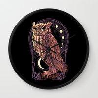 nouveau Wall Clocks featuring Owl Nouveau by Jorge Garza