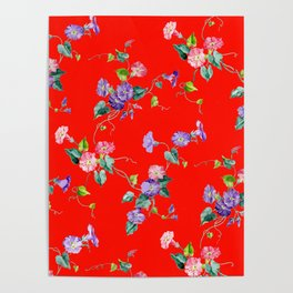 morning glories on red Poster