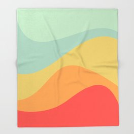 Abstract Color Waves - Bright Rainbow Throw Blanket