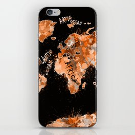 world map color splatter gold iPhone Skin