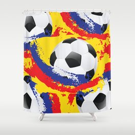 Football Ball and red, blue and yellow Strokes Shower Curtain
