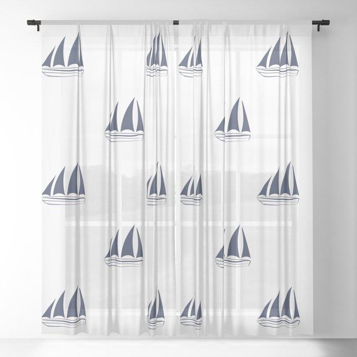 Navy Blue Sailboat Pattern Sheer Curtain By Seafoam12