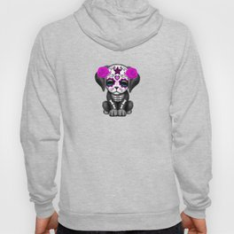 Cute Purple and Blue Day of the Dead Puppy Dog Hoody