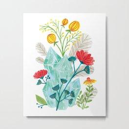 Blue Crystal Florals Metal Print