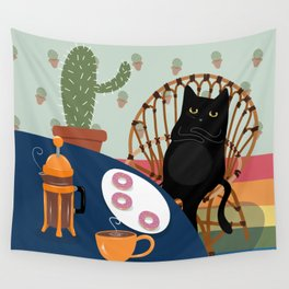 Coffee and Donuts Cat Wall Tapestry