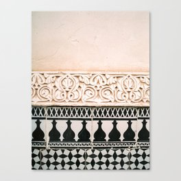 Graphic tile pattern | Moroccan Arabic tiles in earth tones. | Pastel film marrakech photography Canvas Print