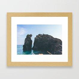 Mediterranean beach rock Framed Art Print