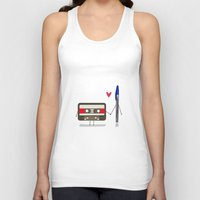 pen Tank Tops featuring Love: cassette and pen by AlbaRicoque
