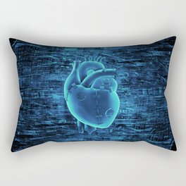Gamer Heart BLUE TECH / 3D render of mechanical heart Rectangular Pillow