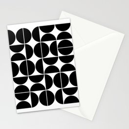 Mid Century Modern Geometric 04 Black Stationery Cards