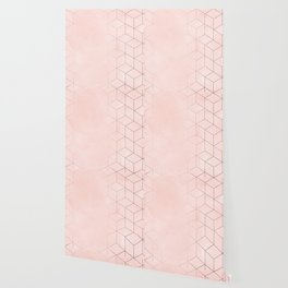 Rosegold Pink Geometric Blocks Wallpaper