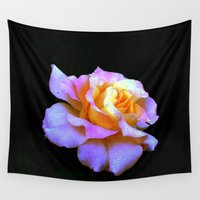 rose gold Wall Tapestries featuring Pink And Gold Rose by minx267