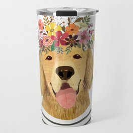 Golden Retriever Dog with Floral Crown Art Print – Funny Decoration Gift – Cute Room Decor – Poster Travel Mug