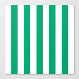 Sesame Street Green - solid color - white vertical lines pattern Canvas Print
