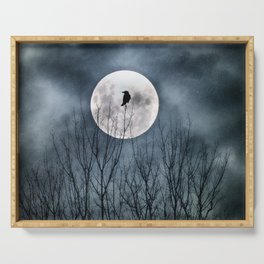 Night Raven Lit By The Full Moon Serving Tray