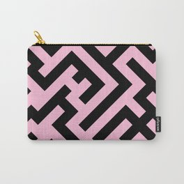 Black and Cotton Candy Pink Diagonal Labyrinth Carry-All Pouch