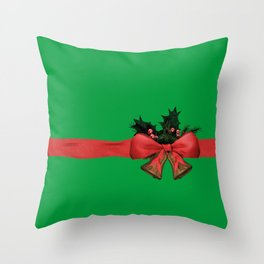 green xmas gift Throw Pillow