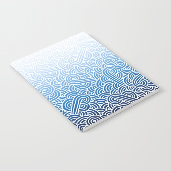 Ombre blue and white swirls doodles Notebook