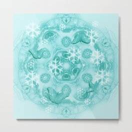 Butterflies and snow in blue Metal Print