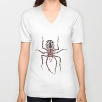 spider V-neck T-shirts featuring Spider by coconuttowers