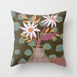 Daisies for You Dark Green Throw Pillow