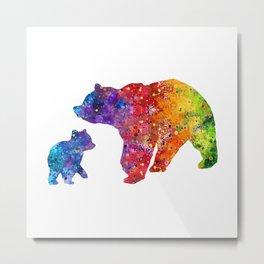 Mother Bear and Cub Art Colorful Watercolor Art Gift Mothers Art Kids Gift Animals Art Widlife Art Metal Print