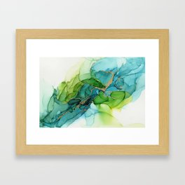 Green Blue Gold Abstract Ink Painting Framed Art Print