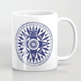 Nautical Compass   Vintage Compass   Navy Blue and White   Coffee Mug