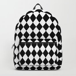 Classic Black and White Harlequin Diamond Check Backpack