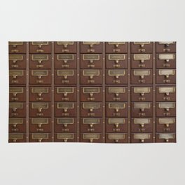Vintage Library Card Catalog Drawers 2017 Calendar Rug