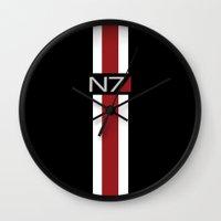 mass effect Wall Clocks featuring Mass Effect | Commander Shepard  by ~ isa ~