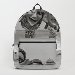 Women Wearing Bizzaro Macabre Carnival Masks at Venice Beach black and white photograph Backpack