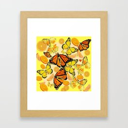 YELLOW MONARCH BUTTERFLY  & ORANGES MARMALADE Framed Art Print