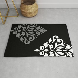 Scroll Damask Art I Black Grey White Rug