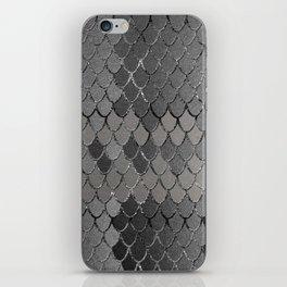 Mermaid Scales Silver Gray Glam #1 #shiny #decor #art #society6 iPhone Skin