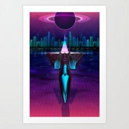 Neon Flight on Titan Art Print