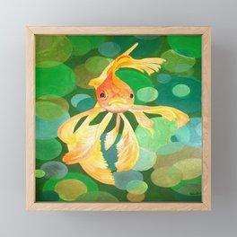 Vermilion Goldfish Swimming In Green Sea of Bubbles Framed Mini Art Print