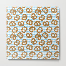 Pretzels on a blue and white checkered background Metal Print