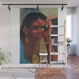 Thinking Deep, Indian Women - in Watercolor Wall Mural