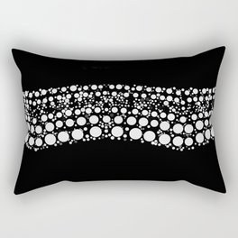 PEARLS minimalist black and white graphic design of dot waves Rectangular Pillow