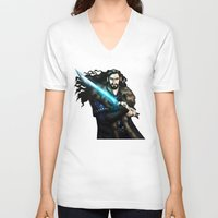 thorin V-neck T-shirts featuring Thorin in Blue by wolfanita